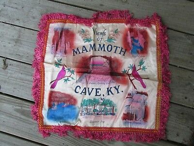 Vintage Views of Mammoth Cave Souvenir Satin Pillow Cover Kentucky Cavern Fringe
