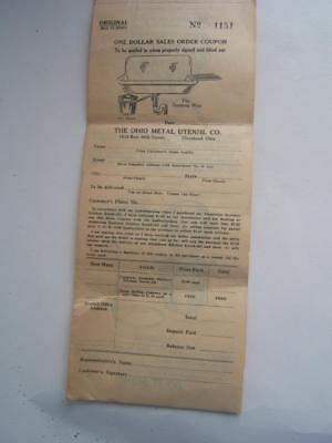 Vintage The Ohio Metal Utensil Co. Order Sheet Nice Illustrations!