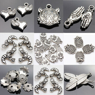 Lot Small Tibet Silver Spacer Necklace Pendant Charm Jewelry Making Bracelet DIY