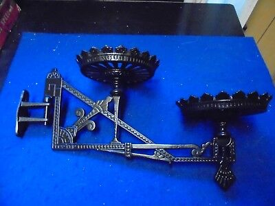 Vintage Double Cast Iron Oil Lamp Holder/Wall Fixture With Bracket Very Ornate