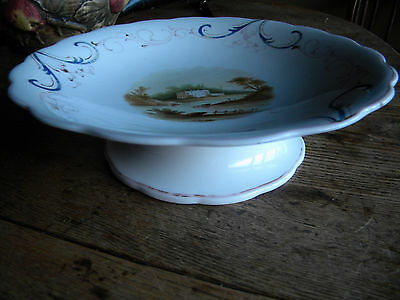 Lovely Antique? Porcelain Scenic and Hand Painted Compote Footed Bowl