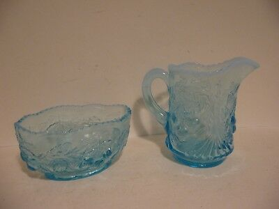 LG Wright Blue Opalescent Glass Cherry Pattern Beaded Edge Creamer & Sugar Bowl