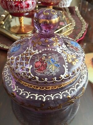 Stunning Antique Moser Hand Painted Gilt On Amethyst Bohemian Glass Candy Dish
