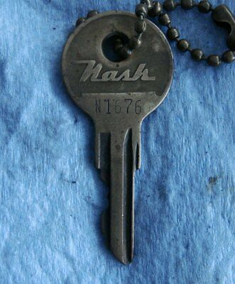 """Vintage NASH Brass Automotive Key: Numbered """"N1676""""; With Key-Chain"""