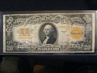 1922 $20 Gold Certificate **v.g.** Read Description - Free Shipping!!