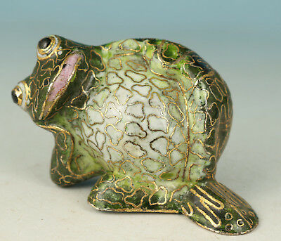 Lovely Chinese Cloisonne Copper Handmade Carved Frog lie down Statue