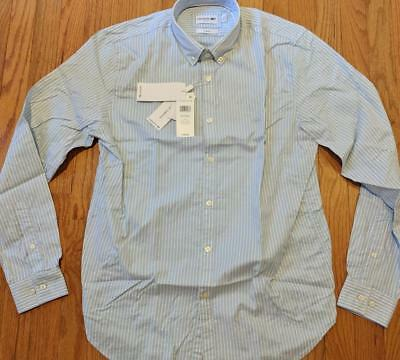 686aa8e3 MENS LACOSTE STRETCH Striped Button Up Shirt Lagoon/Yellow 42 Large - Slim  $98