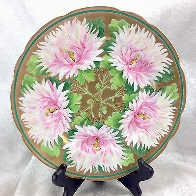 "Antique Vintage Gold Flowers Hand Painted Cowell & Hubbard Cleveland 9.75"" Plate"