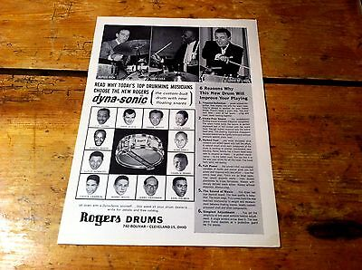 ROGERS DRUMS ( DYNA SONIC ) 1969 buddy rich LOUIS BELLSON cozy cole PROMO Ad NM-
