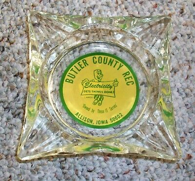 Vtg Reddy Kilowatt Glass Advertising Ashtray Allison Iowa Butler Co Rec