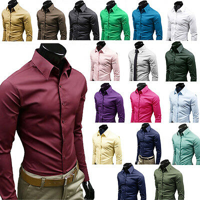 Mens Luxury Formal Shirt Long Sleeve Slim Fit Business Solid Button Dress Shirts