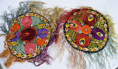 2 Antique Arts & Crafts Silk Embroider Table Top Doily Mat C 1910 1920s Mission
