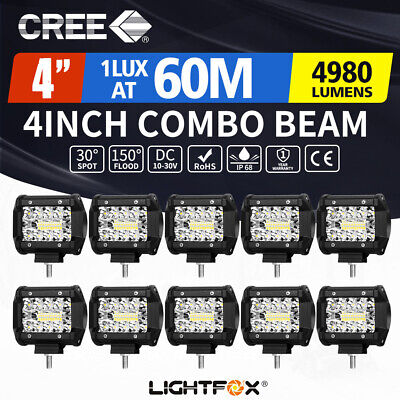10X 4inch LED Work Light Spot Flood Tri Row Offroad 4WD Truck Boat SUV Jeep Ford