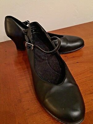 """Character Shoe - Black Leather, 2"""" Heel, sz 7 Taps Not Included Excellent Shape"""