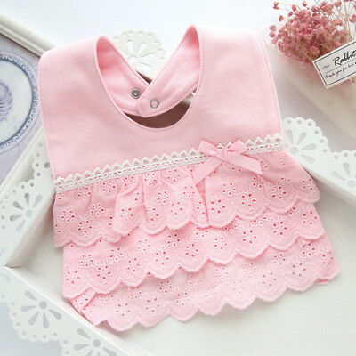Cotton Lace Princess Girl Baby infant toddler Newborn Bibs Feeding Cloth Quality