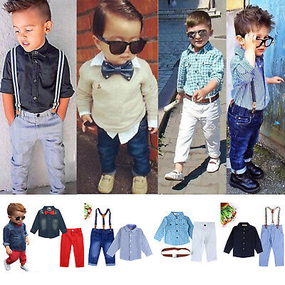 2Pcs Kids Boys Toddler Dress Shirt Tops Pants Gentleman Formal Suit Outfits Set