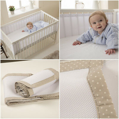 Purflo Breathable Cot Bumper Fully Breathable Spacer Maximum Airflow 2 Designs