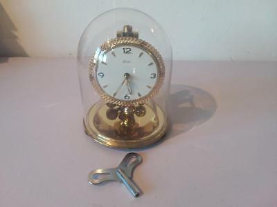 Vintage Kundo Glass Dome Brass Mantle Clock With Key Kieninger Obergfell