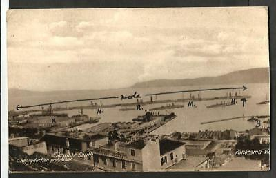 JRA Early (Pre WWI?) Cumbo Postcard, South Mole, Gibraltar shows Warships