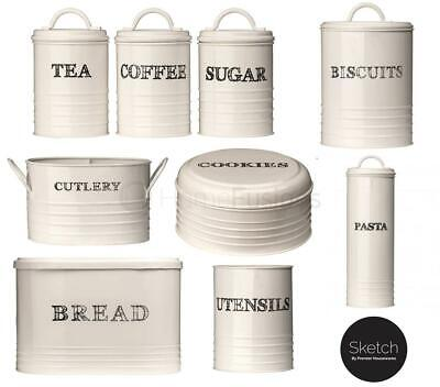 Whitby Tea Coffee Sugar Bread Biscuit Utensil Canisters Metal Available