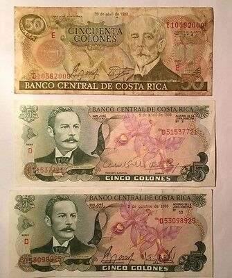 50 and 5 Colones Costa Rica a Lot of 3 Very Nice Value Banknotes