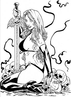 LADY DEATH BY ANDRÉ PINHEIRO- ART PINUP Drawing Original