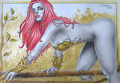 POISON IVY BY DAIANY LIMA- ART PINUP Drawing Original
