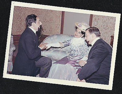 Old Vintage Photograph Two Men Kneeling & Holding Victorian Woman's Hand - Play?