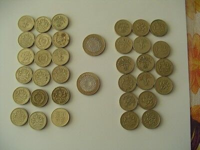 34 Great Britain One Pound Coins Plus 2 Two Pounds Coins