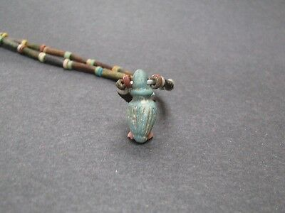 NILE  Ancient Egyptian Papyrus Seed Amulet Mummy Bead Necklace ca 1000 BC