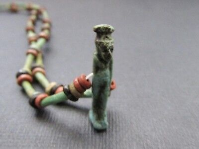 NILE  Ancient Egyptian Isis Amulet Mummy Bead Necklace ca 1000 BC