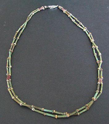 NILE  Ancient Egyptian Double Strand Amulet Mummy Bead Necklace ca 1000 BC