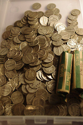 Lot of 50 Circulated Mercury Dimes, Silver