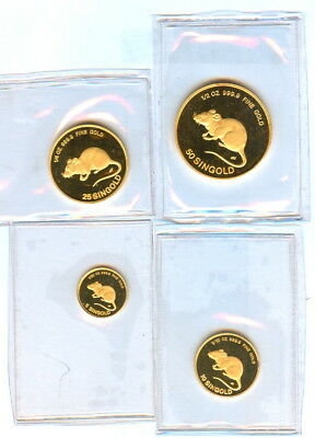 "1984 The 4 Singold Lunar Series""rat""1/2,1/4,1/10,1/20 999.9 Gold Singapore Mint"