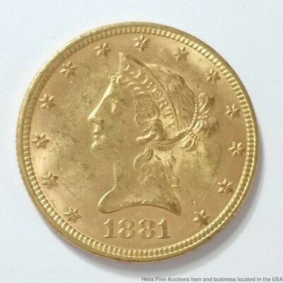1881 Coronet Eagle American United States $10 Ten Dollar Gold Coin