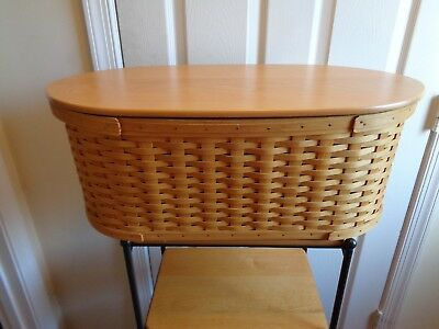 Longaberger Large Workload Basket With Wood Lid And Protector