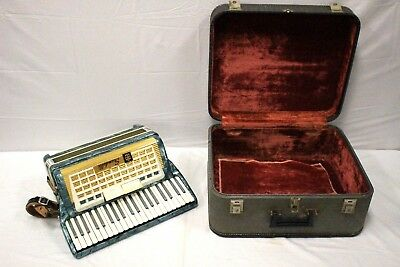 Vintage Scandalli Accordion Blue Made in Italy 41 Keys 120 Bass W/ Case