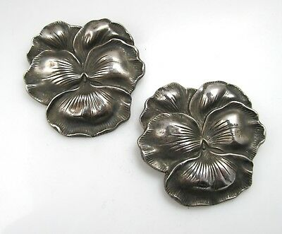 Pair Of Large Pansy Sterling Silver Pin Brooch Victorian Antique Pretty