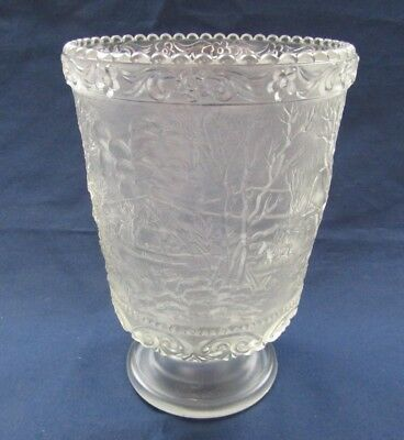 "Fenton Glass Crystal Mist Currier And Ives  6-1/4"" Vase With Logo"
