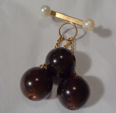 Vintage Brooch W, Three Bakelite Brown Beads On Chain &  Natural Pearls