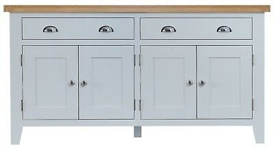 Elegance Oak 4 Door 2 Drawer Sideboard-Grey-Storage Unit With Shelves-Modern