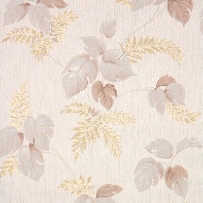 1940s Botanical Vintage Wallpaper Gray And Brown Leaves With