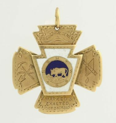 Vintage Knights Templar Masonic Fob Pendant - 18k Yellow Gold High Karat c.1867