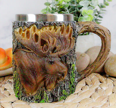 The Emperor Woodlands Bull Moose Mug Textured With Rustic Tree Bark Design