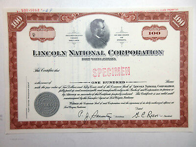 IN. Lincoln National Corp ca.1940-50s Specimen Stock Certificate 100 Shrs Brown