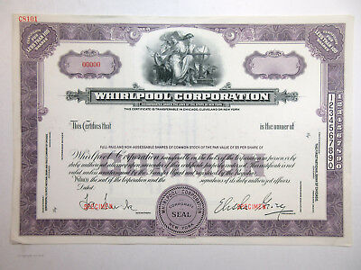 NY. Whirlpool Corp. 1940-50 Odd Shares Specimen Stock Certificate AU ABN