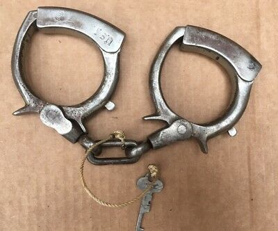 Antique Early Handcuffs patent date 1899 With Key