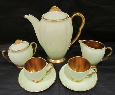 Carlton Ware Art Deco Coffee Set For Two In Pastel Green & Gilt