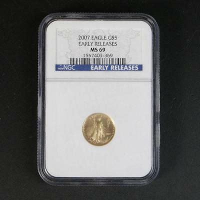 2007 $5 American Gold Eagle 1/10 oz NGC MS69 Early Releases