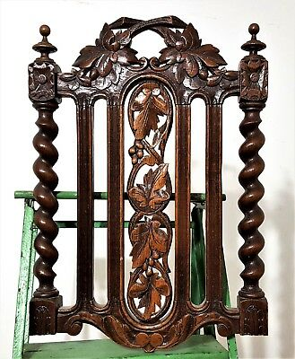 Hand Carved Wood Panel Antique French Oak Carving Sculpture Salvaged Ornament 2